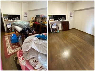 介護ベットを移動するため、部屋の片付け