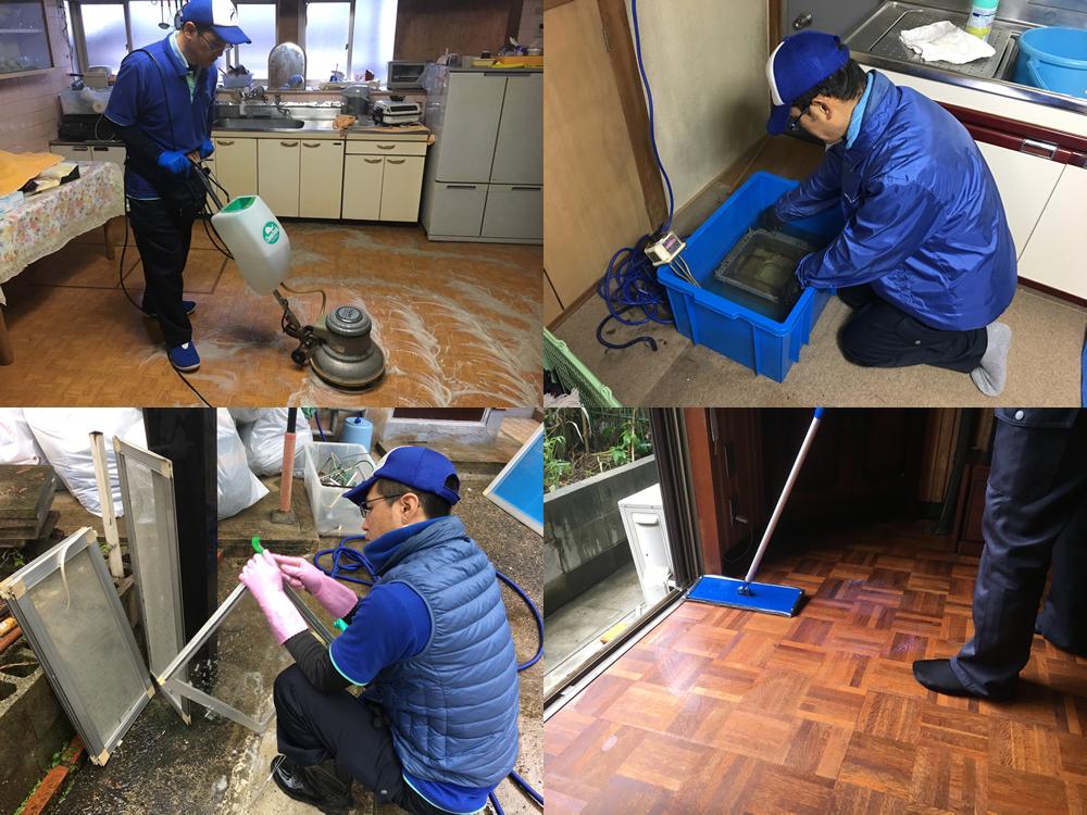 ポリッシャーで床洗浄、換気扇清掃、サッシ窓ガラス清掃、ワックスがけなど本格的なハウスクリーニングも行っています。