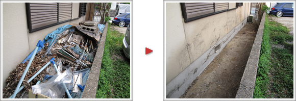 福岡市南区柳瀬の何でも片付隊 春日市泉のお客様宅の通路が粗大ゴミ、不要品で山盛りに、全て撤去、片付けました。
