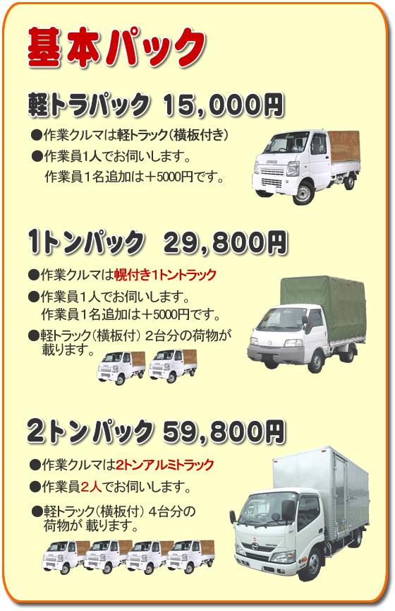 基本パック、軽トラパック15,000円●作業クルマは軽トラック(横いた付き)●作業員一人でお伺いします。2名作業は+3,000円です。1トンパック29,800円●作業クルマは幌付き1トントラック●作業員1人でお伺いします。2名作業は+5,000円です。●軽トラック(横板付)2台分の荷物が載ります。2トンパック59,800円●作業クルマは2トンアルミトラック●作業員2人でお伺いします。●軽トラック(横板付)4台分の荷物が載ります。